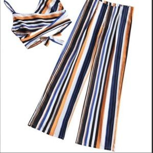 Zaful Other - Zaful - top & bottom - blue/orange stripped set